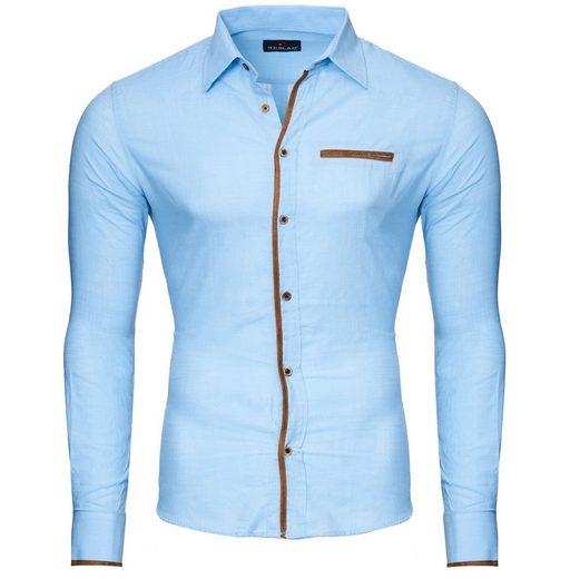 Reslad Langarmhemd »Reslad Herren Hemd Patched Leinen Look Langarmhemd« veredelte Knopfleiste