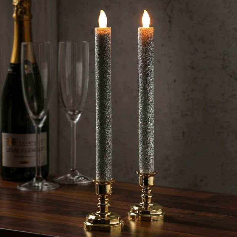 MARELIDA LED-Kerze »LED Stabkerzen goldene Kerzenständer flackernd Echtwachs 2Stück silber glitzernd« (2-tlg)