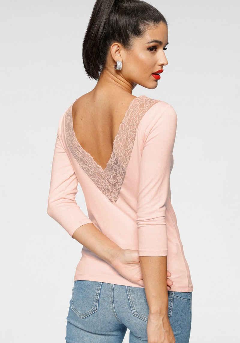 Melrose Rundhalsshirt mit tiefem Rückenausschnitt und Spitze