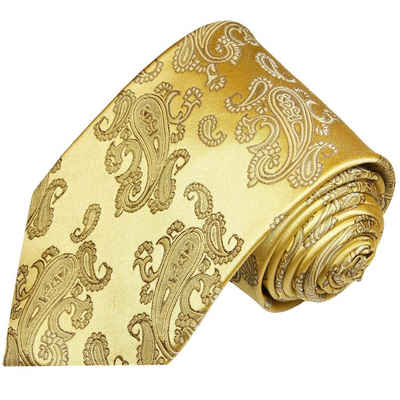 Paul Malone Krawatte »Herren Seidenkrawatte eleganter Schlips modern paisley 100% Seide« Breit (8cm), gold 354