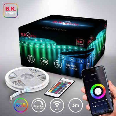B.K.Licht LED-Streifen, 3m Smart Home LED Band/Stripes dimmbar mit WiFi App-Steuerung