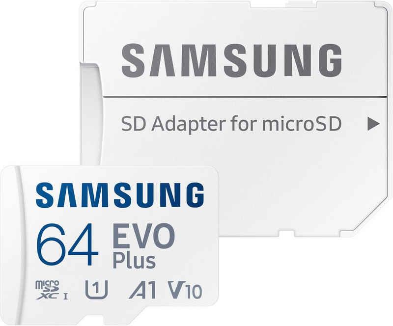 Samsung »EVO Plus 64GB microSDXC Full HD inkl. SD-Adapter« Speicherkarte (64 GB, UHS Class 10, 130 MB/s Lesegeschwindigkeit)