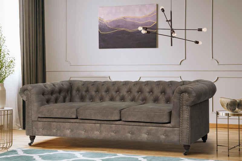 Home affaire 3-Sitzer »Aarburg«, aufwändige Knopfheftung und Ziernägel im Chesterfield-Design