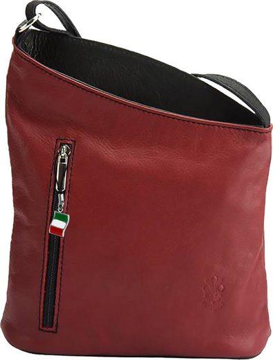 FLORENCE Schultertasche »OTF114R Florence Umhängetasche Schultertasche« (Umhängetasche - Schultertasche), Damen Tasche aus Echtleder in rot, schwarz, ca. 22cm Breite, Made-In Italy
