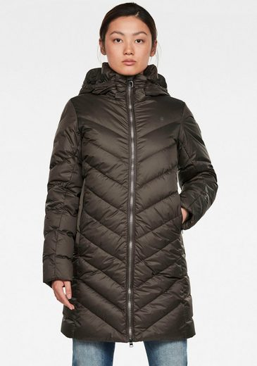 G-Star RAW Steppjacke »Whistler Slim Down Long Mantel« modischer Damen Winter Steppjacke mit Kapuze