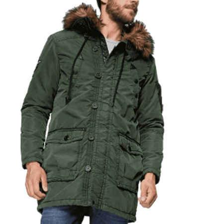 khujo Parka »Khujo Ferrys Winter-Jacke lässiger Herren Parka Outdoor Wear im Bomberjacken-Design mit verstellbarer Kapuze Oliv-Grün«