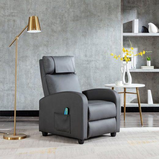 HomeGuru Relaxsessel »Relaxsessel mit Liegefunktion, Massagefunktion und Wärmefunktion, Fernsehsessel«, PU Kunstleder, grau