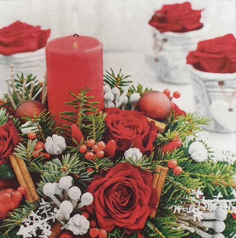 Linoows Papierserviette »20 Servietten Weihnachten, Rosen, Kerze und Tannen«, Motiv Weihnachten, Rosen, Kerze und Tannenkranz