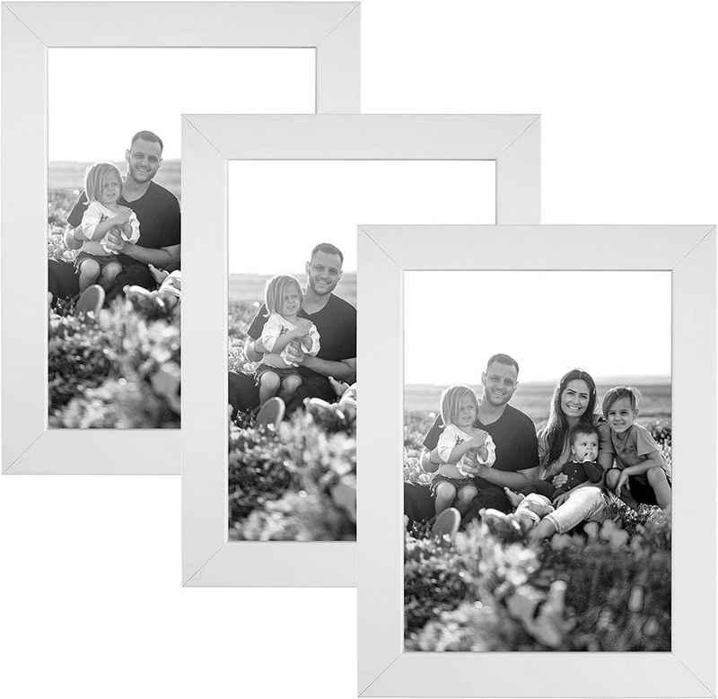 CABBEL Bilderrahmen, für 3 Bilder (Spar-Set, 3 Stück), 3er Set Bilderrahmen 10x15 MDF Holz-Rahmen mit bruchsicherem Acrylglas in Weiß