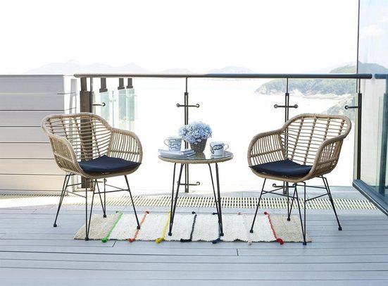 Homexperts Balkonset »Ylvi«, (5-tlg), inklusive Sitzkissen und Beistelltisch, 2 Stühle mit Beistelltisch
