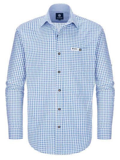 Almbock Trachtenhemd »Karohemd Max« hellblau-weiß-kariert