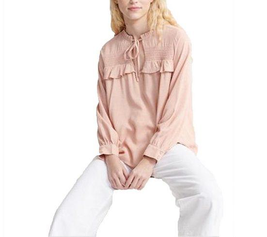 Superdry Blusentop »Superdry Blusen-Shirt romantisches Damen Langarm-Bluse mit Rüschenkante und Bindeband Tunika Rosa«