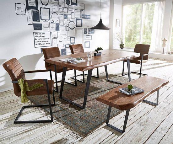 DELIFE Esstisch »Live-Edge«, Akazie Braun 180x100 cm mit 4 Stühlen + 1 Essbank