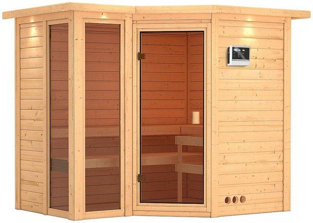 Saunen und Zubehör - KARIBU Sauna »Amara«, 264x198x212 cm, 9 kW Ofen mit ext. Steuerung, Dachkranz  - Onlineshop OTTO