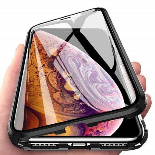 cofi1453 Handyhülle »360° Magnet Slim Metall Case mit Panzerglas Schutz Tasche Handyhülle Handyschale Schutz Schwarz« Huawei P30 Pro