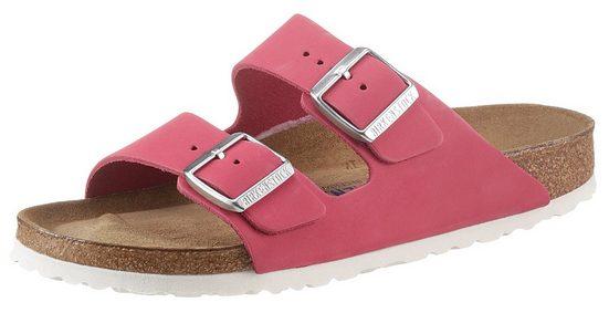 Birkenstock »Arizona Soft« Pantolette aus Nubukleder, Schuhweite: schmal