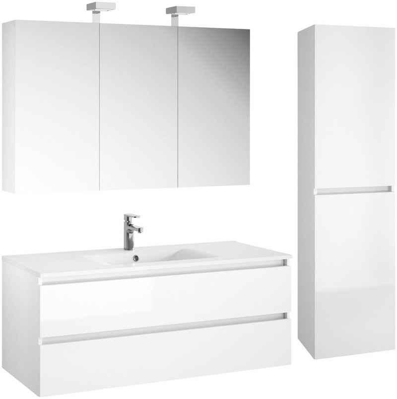 Allibert Badmöbel-Set »Alma«, (4-St), bestehend Waschplatz, Spiegelschrank und Hochschrank