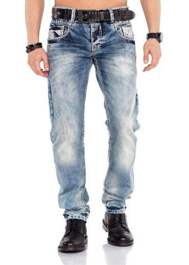Cipo & Baxx Straight-Jeans stonewashed mit Kontrastnähten