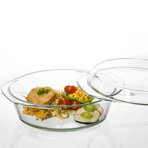 SIMAX Auflaufform »Glas Auflaufform mit Deckel 26,8 cm«, Glas, (1-St)