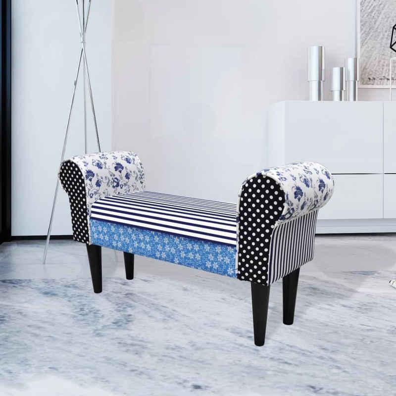 vidaXL Sitzbank »Patchwork Sitzbank Country Living Stil Blau & Weiß«