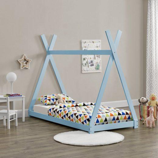 en.casa Kinderbett, 90x200cm Tipi Bett Holz Blau Hausbett