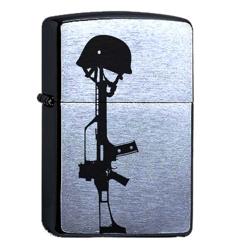 elbedruck Tischfeuer »Zippo Feuerzeug mit Gravur G3 und Helm. Bundeswehr Soldat Sturmfeuerzeug graviert mit Gewehr«