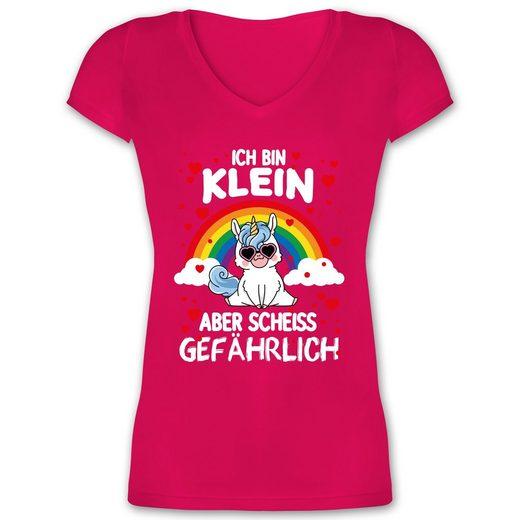 Shirtracer T-Shirt »Ich bin klein aber scheiss gefährlich mit Einhorn - Damen T-Shirt mit V-Ausschnitt«
