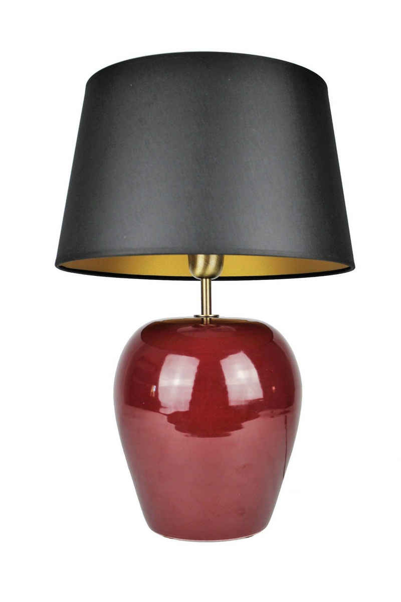 Signature Home Collection Nachttischlampe, Keramiklampe Nachttischlampe rot mit Lampenschirm