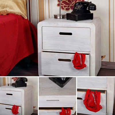 Mucola Nachttisch »Tisch Nachttisch Couchtisch Design 3-tlg Schubladen Holz Shabby Kommode Weiß«