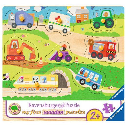 Ravensburger Puzzle »Lieblingsfahrzeuge - My First Wooden Puzzles«, 8 Puzzleteile