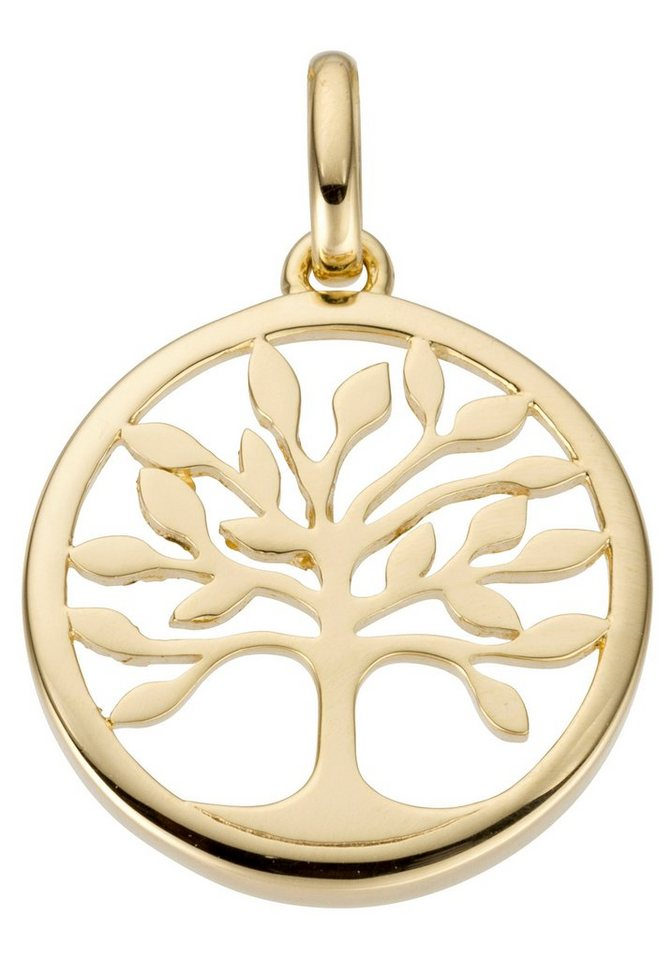 Unbespielt Kettenanhänger Unisex Baum Des Lebens Lebensbaum Gold Zirkonias 11 mm