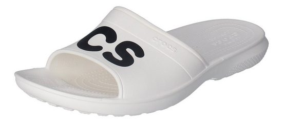 Crocs »Classic Graphic Slide« Zehentrenner Weiß (White/Black)