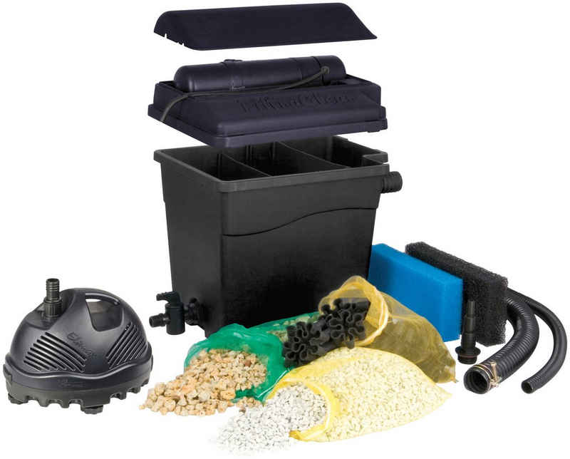 Ubbink Teichfilter »Filtra Clear 8000 Plus« (Set, Teichfilter (35 W); Teichpumpe (2.300 l/h); UVC-Gerät (9 W); 2 Filterschwämme; Filtermedien; Anschlussmaterial)