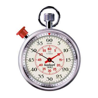 hanhart Stoppuhr »Stoppuhr Additionsstopper MegaMinute mit Flyback«, kannelierte Lünette, 1/5-Sekunden-Messung, große springende Zentralminute mit Messbereich bis 60 Minuten