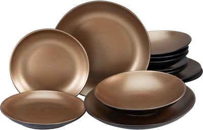Leonique Tafelservice »Oralie« (12-tlg), Steinzeug, metallische Farben