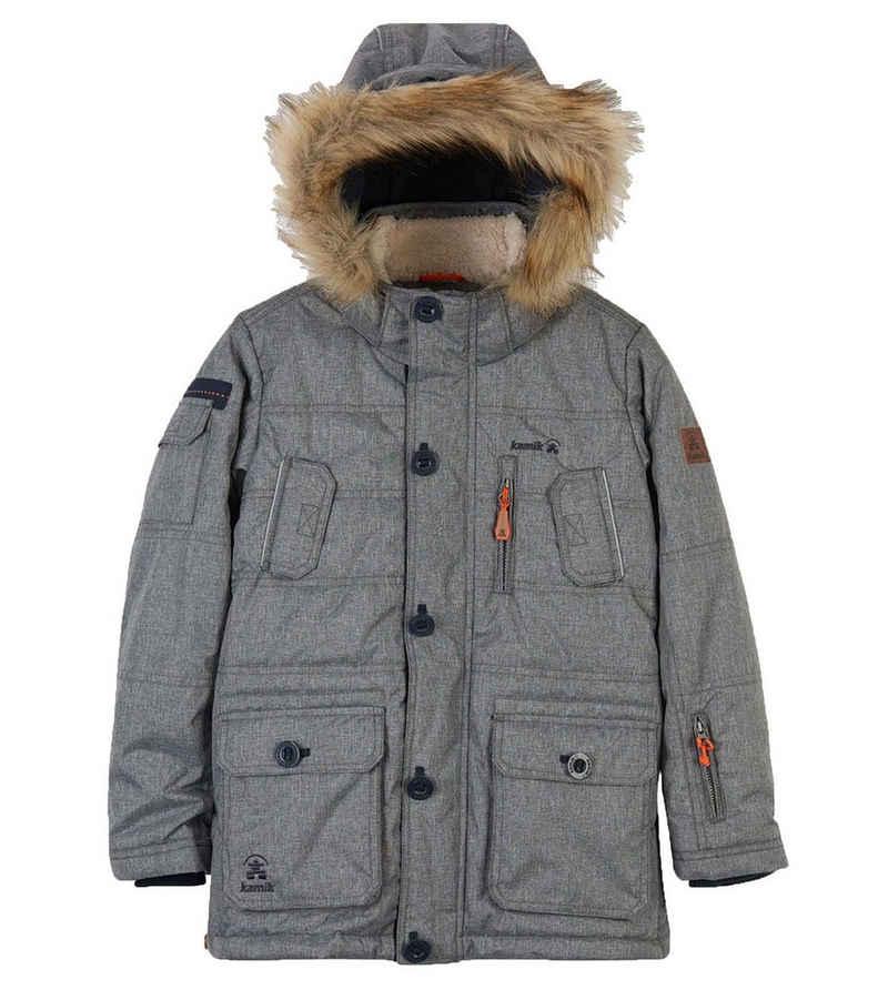 Kamik Winterjacke »kamik Linus Parka trendige Kinder Jacke mit isolierender Wattierung Kapuzen-Jacke Winter-Jacke Grau«