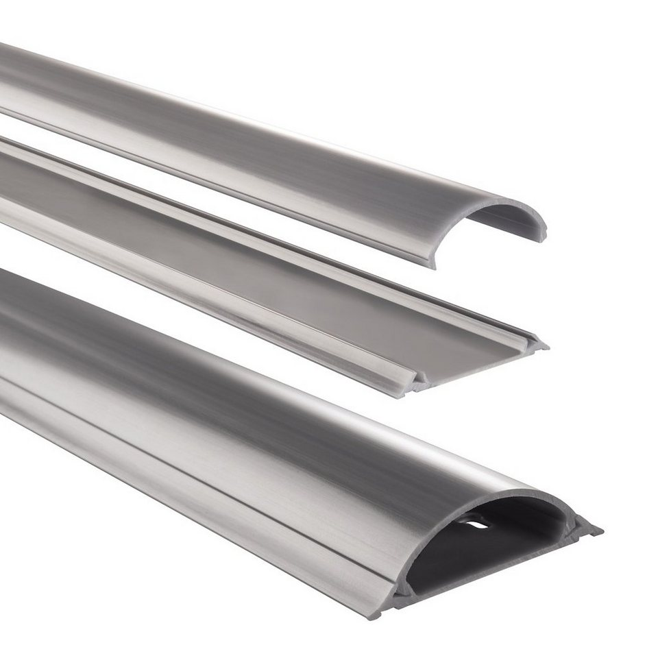 Hama PVC-Kabelkanal, halbrund, 100/7/2,1 cm, Grau in Grau