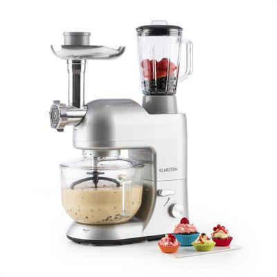 Klarstein Küchenmaschine Lucia Argentea 2G Küchenmaschine Mixer Fleischwolf 1300W BPA-frei, 1200 W, 5.2 l Schüssel