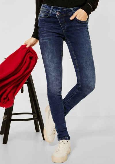 STREET ONE Stretch-Jeans »Style York« mit asymmetrischem Verschluss