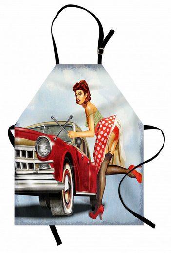 Abakuhaus Kochschürze »Höhenverstellbar Klare Farben ohne verblassen«, Pin up Girl Lady Zur Festsetzung des Autos