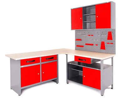 ONDIS24 Werkstatt-Set »Basic One«, (Set), 2x Werkbank, 1x Werkstattschrank, 3x Lochwand