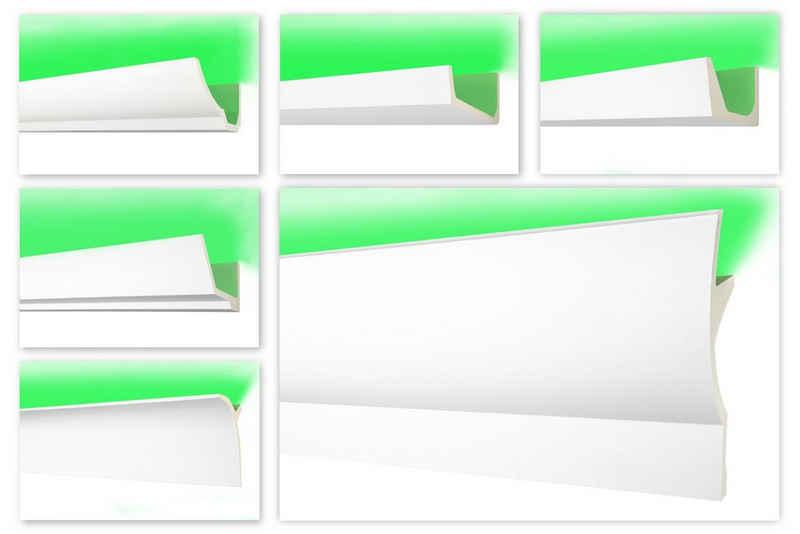 Hexim Perfect Eckprofil »AB 299«, LED Zierleisten - indirekte Beleuchtung Stuckleiste aus PU glatt, weiß Deckenleiste leicht & lichtundurchlässig