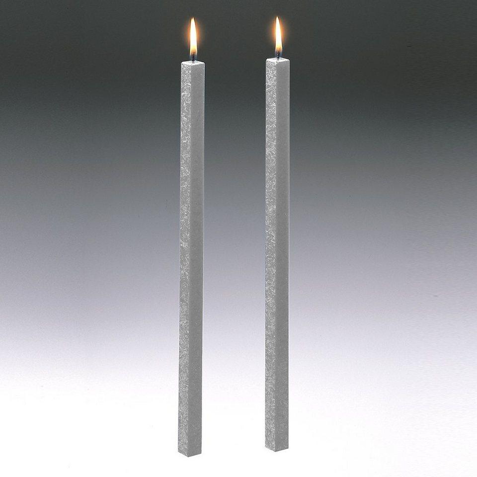 Amabiente Amabiente Kerze CLASSIC silbergrau 40cm - 2er Set in silbergrau