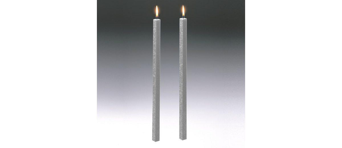 Amabiente Amabiente Kerze CLASSIC silbergrau 40cm - 2er Set