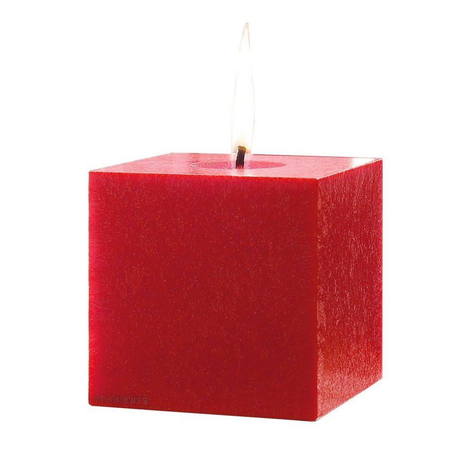 Amabiente Amabiente Kerze KUBUS feuerrot 12 cm in feuerrot