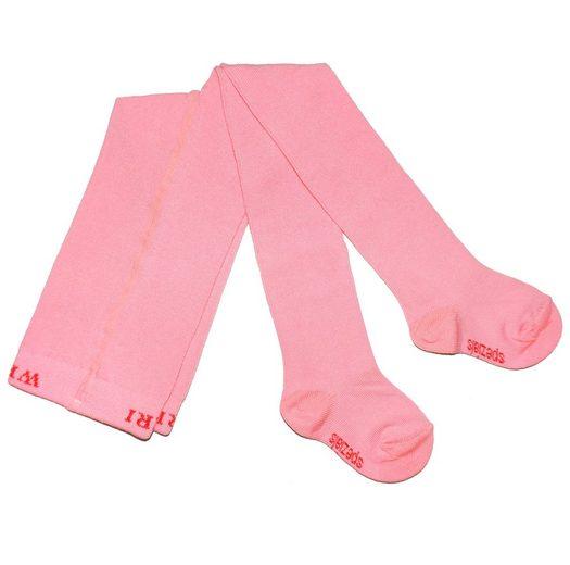 WERI SPEZIALS Strumpfhersteller GmbH Strickstrumpfhose »Kinderstrumpfhosen für Mädchen >>Einfarbig: Rosarot<< mit Baumwolle«