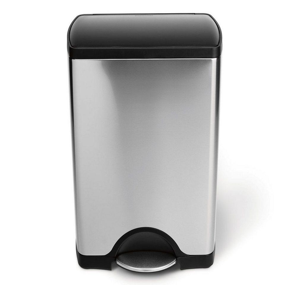 SIMPLEHUMAN simplehuman Mülleimer RECTANGULAR 38L mit Plastedeckel in silber, schwarz