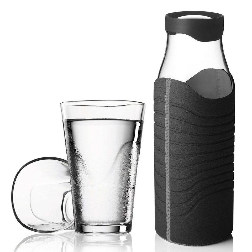 MENU Menu Karaffe 1L mit Hülle schwarz-grau plus 2 Gläser in schwarz-grau