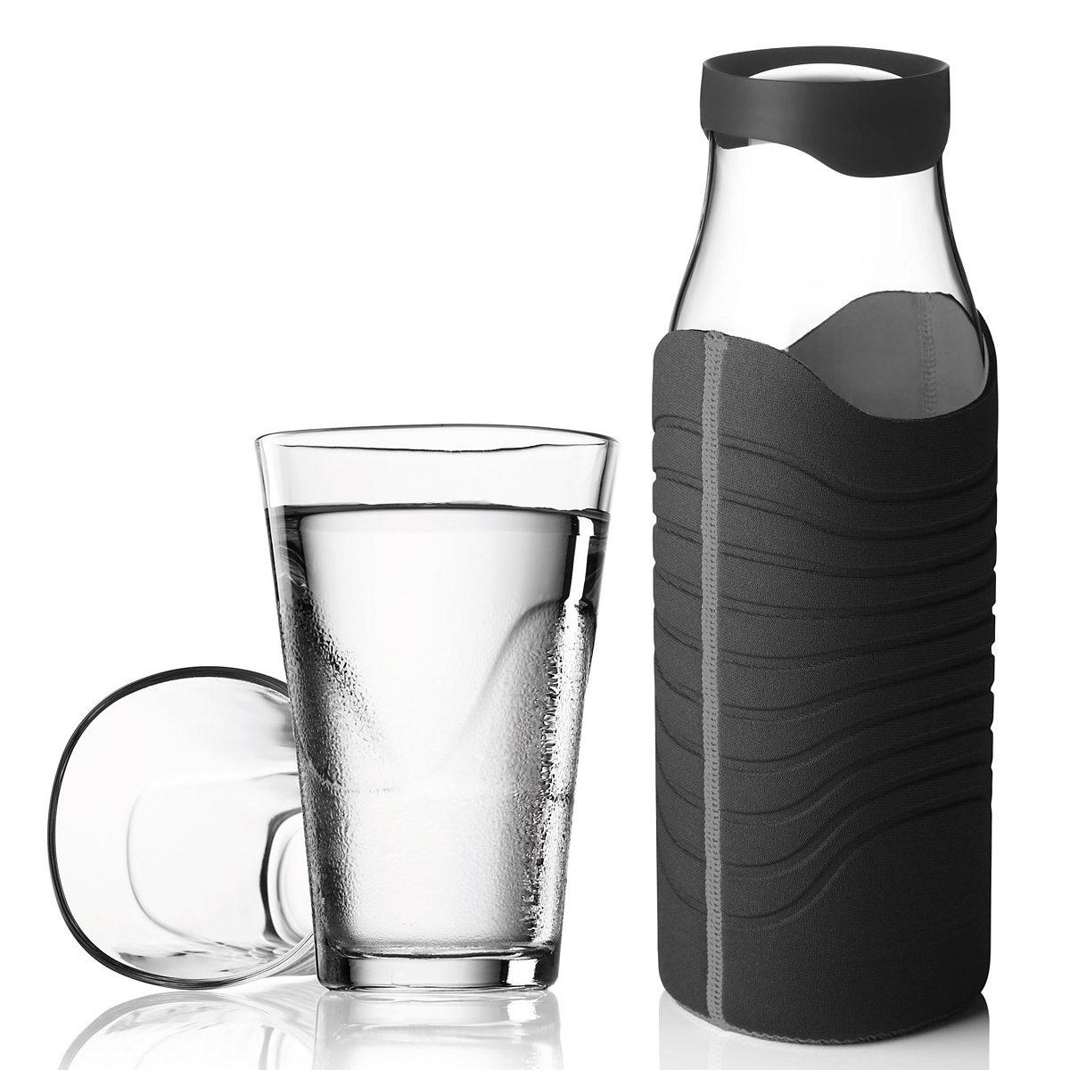 MENU Menu Karaffe 1L mit Hülle schwarz-grau plus 2 Gläser