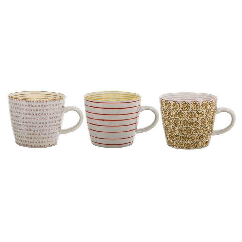 Bloomingville Becher »Susie Mug, Yellow, Stoneware«, 300ml, 3er Set Tassen, 3-teilig Kaffeetasse, Kaffeebecher-Set, Keramik Kaffeetassen, Teetassen, Teebecher, dänisches Design, yellow